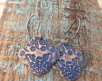 Blue henna earrings