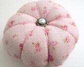Pincushion, Pink Rose Pin Keep, Cottage Chic Pincushion, Sewing Room Accessory