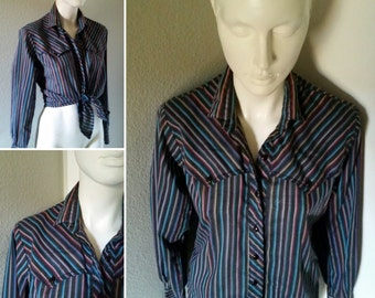 Vintage 80s 90s women's western style button up shirt striped cowgirl rockabilly pinup shirt
