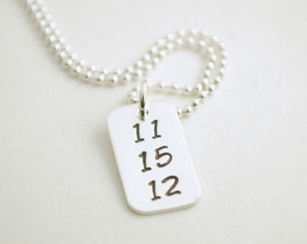 Custom Date Necklace Anniversary Sobriety Recovery Jewelry for Women Hand Stamped Sterling Silver Necklace