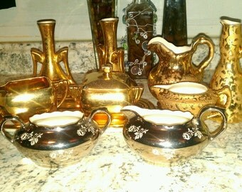 10 piece 1950's-1960's Antique 22k Weeping Sunburst Gold platinum rose gold Dipped gold dish sets. 6 piece LOT McCoy FREE SHIPPING