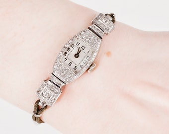Antique Watch - Antique Art Deco Platinum & Gold Diamond Watch