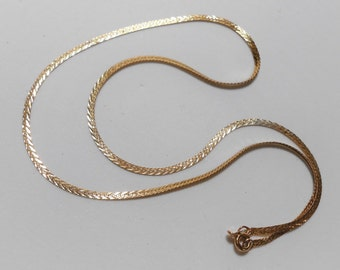 14K Solid Yellow old herringbone Diamond cut design chain, Necklace 18 Inches