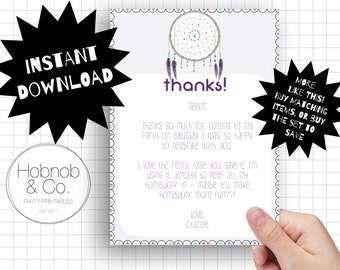 Printable boho dreamcatcher party thank you cards INSTANT DOWNLOAD