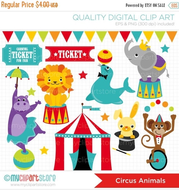50% OFF Clipart Circus Animals / Carnival / By MyClipArtStore