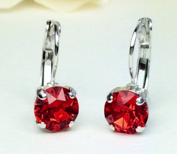 Swarovski Crystal 8.5mm Lever- Back Drop Earrings - Classy - Lt. Siam - OR Choose Your Favorite Color and Finish FREE SHIPPING
