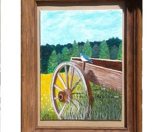 17 by 14 in Acrylic Canvas painting of an old wagon with  old frame