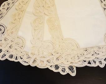 Vintage Cotton Cut-Out Lace Placemats
