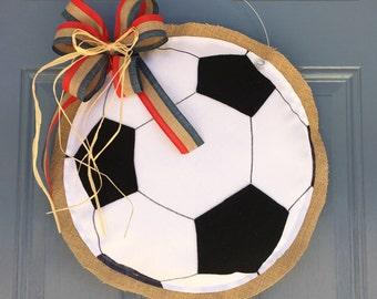 Soccer Ball Burlap Door Hanger