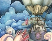 "Adorable ""The Pilgrimage"" signed watercolor painting art print by Holly Morningstar of a hedgehog hedgie aviator with axolotols steampunk"