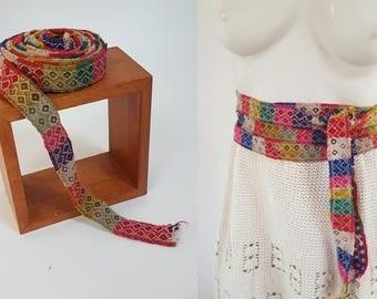vintage Andean Quechua Handwoven Puyto Trim / Belt / Wrap from Peru