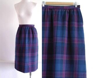 Vintage Pendleton Plaid Skirt, Midi Skirt, Pencil Skirt, Pocket Skirt, Pendleton Wool Skirt, Womens Wool Skirt, Knee Length, Waist 27