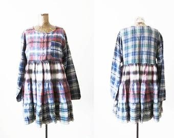 90s Dress / Plaid Flannel Dress / Grunge Long Sleeve / Red Green Plaid Mini Dress / S M