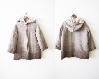 1970s Coat / Wool Coat / Hooded Coat / Icelandic Jacket / Beige Wool Jacket / Minimalist Coat / Boxy Coat / Ombre Coat
