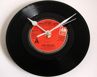"THE POLICE Vinyl Record CLOCK ""Every Breath You Take"", recycled 7"" single 1980s pop music black and red"