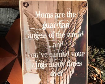 Perfect Gift For Mom / Photo Gift / Angel Wings With Quote / Original Design / Art Adhered To Wood Ready To Display /Handmade In The USA