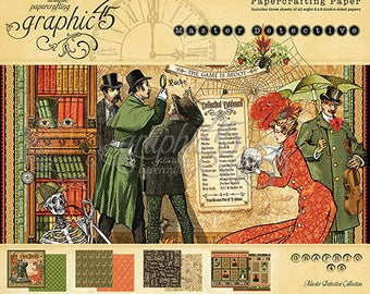 """Graphic 45 """"Master Detective"""" 8 x 8 Paper pad Cardstock Collection"""