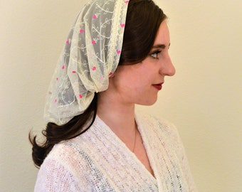 Veils for Church - SCT6 - Christian Headcovering Headband Headscarf with Ties, in off-white with embroidery