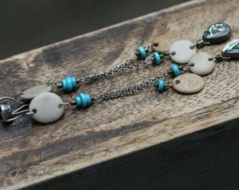 Rustic jewelry . beach stone . beach jewelry . dainty . elongate pendulum . dangle beach stones . organic jewelry . cluster summer jewelry