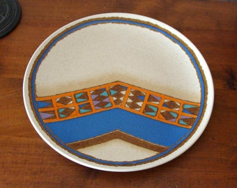 """SALE Mikasa Indian Feast Teepee Platter or Chop Plate, 12 1/2"""" Made Between 1976 and 1979 DE853"""