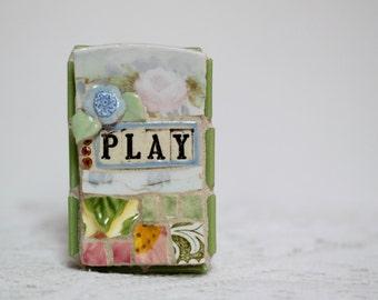 PLAY, mosaic wall art, gift, mosaic, mosaic art