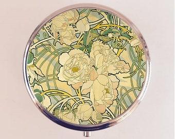 Alphonse Mucha Pill Box Case Pillbox Holder Trinket Stash Box Peony Flower Art Nouveau Boho Gypsy