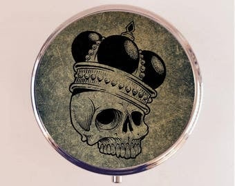 Skull with Crown Pill Box Case Pillbox Holder Trinket Box Royal Crowned