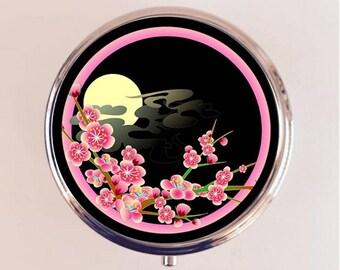 Sakura Cherry Blossom Pill Box Case Pillbox Holder Stash Trinket Box Japanese Japan Asian Art