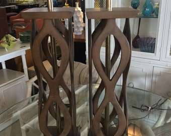 Mid Century Modern Sculptral Wood Lamps, Pair