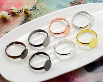 20pcs of Brass Ring Base With 6mm / 8mm / 10mm Glue Pad Setting, Brass Adjustable Ring Base Flat Pad Setting -- 7 Colors available