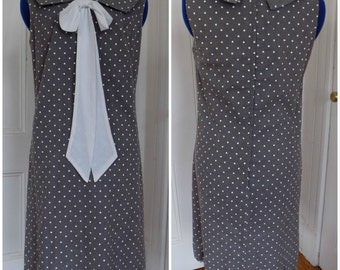 Vintage 1960s/1970s ILGWU Union Grey & White Polka Dot Bow Mad Men Mod Dress 60s 70s