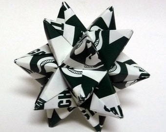 Medium Origami Star Made From Licensed Michigan State University Paper, Michigan State Ornament, Spartans Decoration