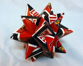 Medium Origami Star Made From University of Louisville NCAA Paper, Louisville Cardinals Ornament, Louisville Decoration