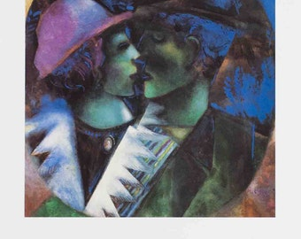 Marc Chagall-The Lovers in Green-1993 Poster