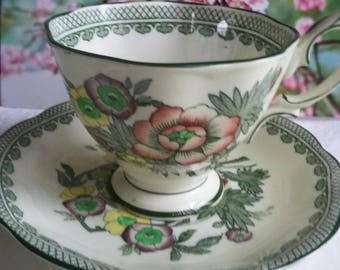 Rare Antique Royal Albert Green Floral Fine Bone China Tea Cup & Saucer, Collectibles, Royal Albert Crown England