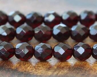 Garnet Czech Glass Beads, 8mm Faceted Round - 25 pcs - e9011-8