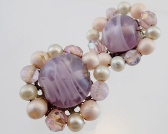 FREE Shipping Vintage Purple Art Glass Beaded Cluster Clip On earrings Made in Japan Faux Pearl Austrian Crystal