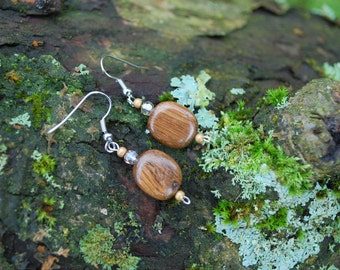 Oak Wood Earrings, Nature Eco Friendly Brown Earrings, Woodland Rustic Boho Earrings, Wood Square Earrings, Brown Wood Earrings, Girls