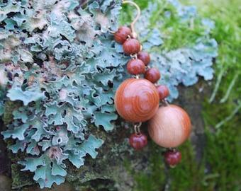 Juniper Wood Ball Beads Earrings, Nature Eco Friendly Ball Earrings, Woodland Rustic Boho Ball Earrings, Wooden  Ball Earrings, Under 10