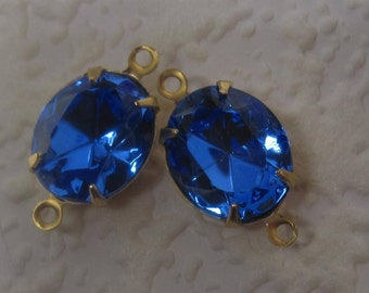 19MM, Swarovski Crystal, Sapphire, Blue,Oval, Rhinestone, Multi Faceted, Brass, 2 Ring, OB, 4 Prong, Setting, Connector,