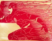 "The Flash - 9""x12"" - Handmade - Linocut Block Printed Shirt- Red on Yellow"