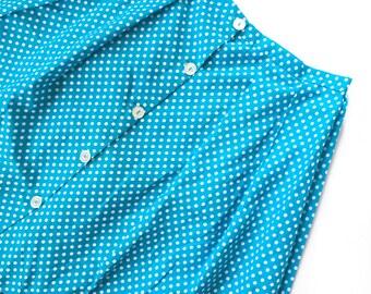 60s Blue white polka dot mini skirt, size M/L, perfect condition