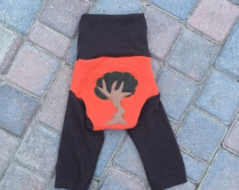 Cloth Diaper Cover, Wool Soaker Cover, Upcycled, Longies, Wool Pants - Orange and Brown with a Tree Applique - Size Large