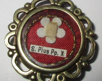 Beautiful Vintage Theca Relic / Reliqaury Of Pope Saint Pius / Pious X, Priest's, First Class Relic, Vatican Seal Intact - Leather Pouch