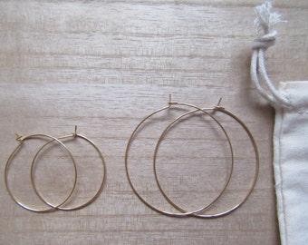 NEW Delicate thin gold hoop earrings - minimalist earrings, simple gold hoops, big hoop earrings, rose gold hoops, hammered hoops
