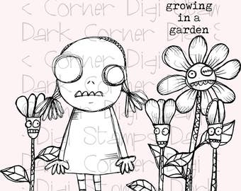 Cindy Clawford, Clawford  - quirky cute zombie girl in her zombie garden - 6 digi stamp bundle in jpg and png files