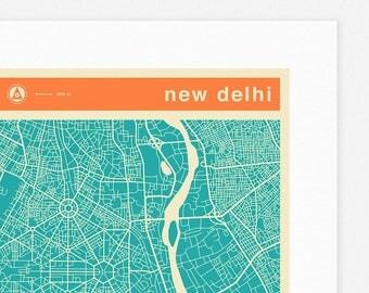 NEW DELHI MAP (Giclée Fine Art Print, Photographic Print or Poster Print) colored version