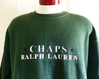 vintage 90's CRL Chaps Ralph Lauren forest green fleece graphic sweatshirt embroidered designer logo crew neck pullover jumper oversized XL
