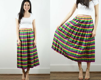 Vintage Striped Skirt / 1980s Colorful Skirt / Fiesta Skirt / Horizontal Stripes / Pleated / Pleats / Yellow / Pink / Green / Midi / Striped
