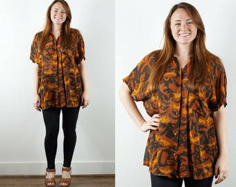 Vintage Oversize Button Down / 1990s Duster / Abstract Print Top / Short Sleeve Blouse / Tribal Print Top / Ethnic Tunic Shirt / Brown Top